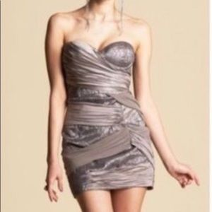 Bebe Silver Draped In Taupe Strapless Dress M